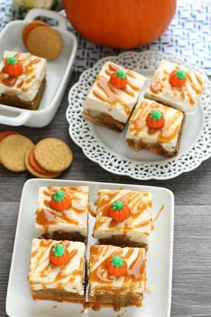 Frosted Caramel Pumpkin Oreo Blondies make a decadent fall treat