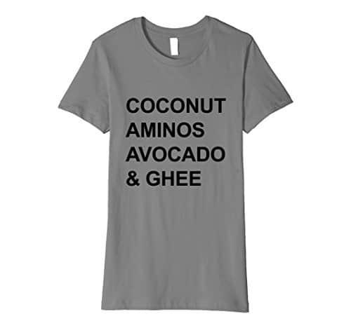 Coconut Aminos Avocado & Ghee gray t-shirt