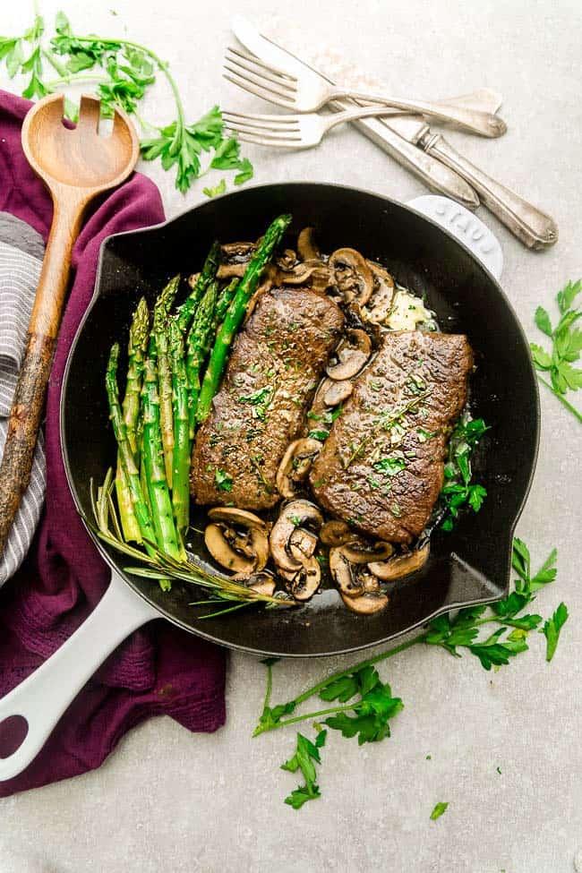 Garlic Steak With Herb Butter Asparagus Amp Mushrooms