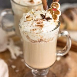 Gingerbread Latte is the perfect cozy homemade drink once December hits. Best part of all, you can skip the trip to Starbucks with this copycat version. The combination of warm spices like ginger, nutmeg and molasses just screams the holidays