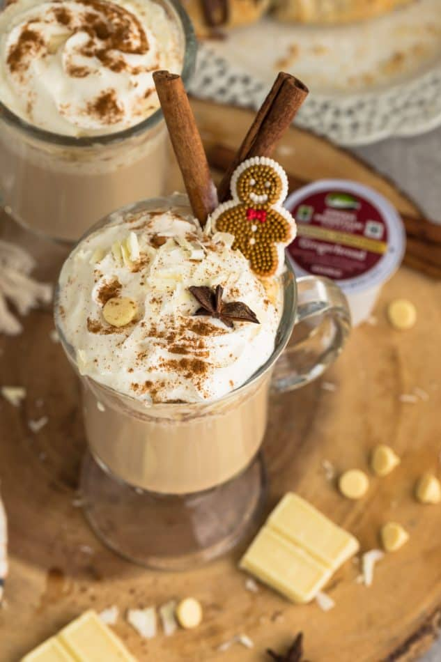 Overhead view of two Gingerbread Lattes in glasses
