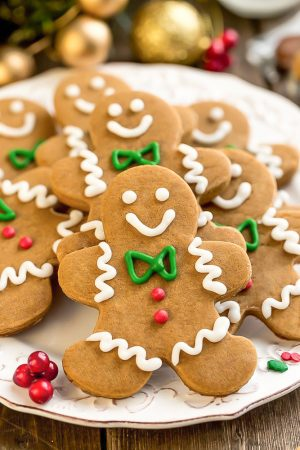 This recipe for Gingerbread Men cookies are a classic holiday favorite. They are perfectly spiced with cinnamon, ginger, molasses and bake up soft and chewy with slightly crisp edges.