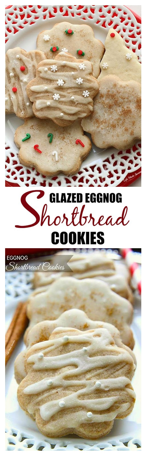 Glazed eggnog shortbread cookies are perfect for the holiday season
