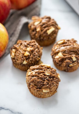 Apple muffins on a counter