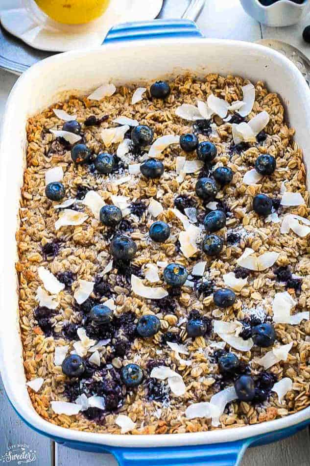 A Casserole Dish Filled with Baked Blueberry Oatmeal on a Dining Table