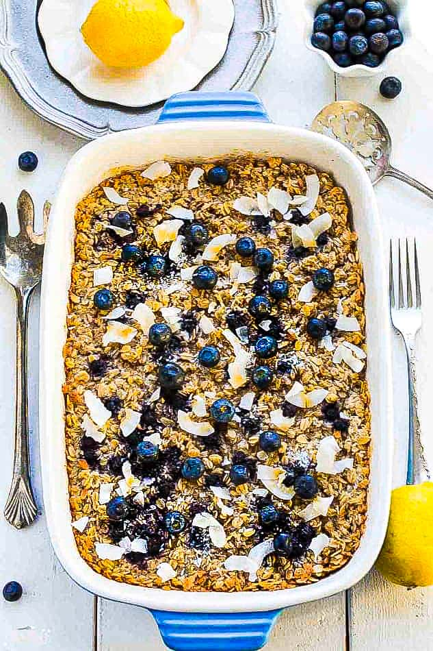 A Blueberry Oatmeal Casserole in a Large White Pan Shown From the Top