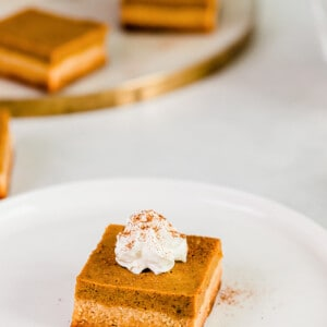 Top view of healthy pumpkin bar on a white plate