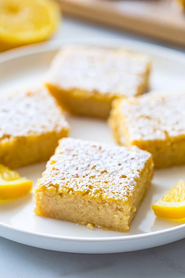 Lemon Squares on a white plate