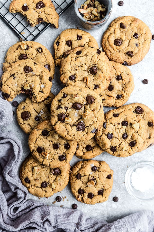 Overhead view of Vegan Chocolate Chip Cookies on a gray background