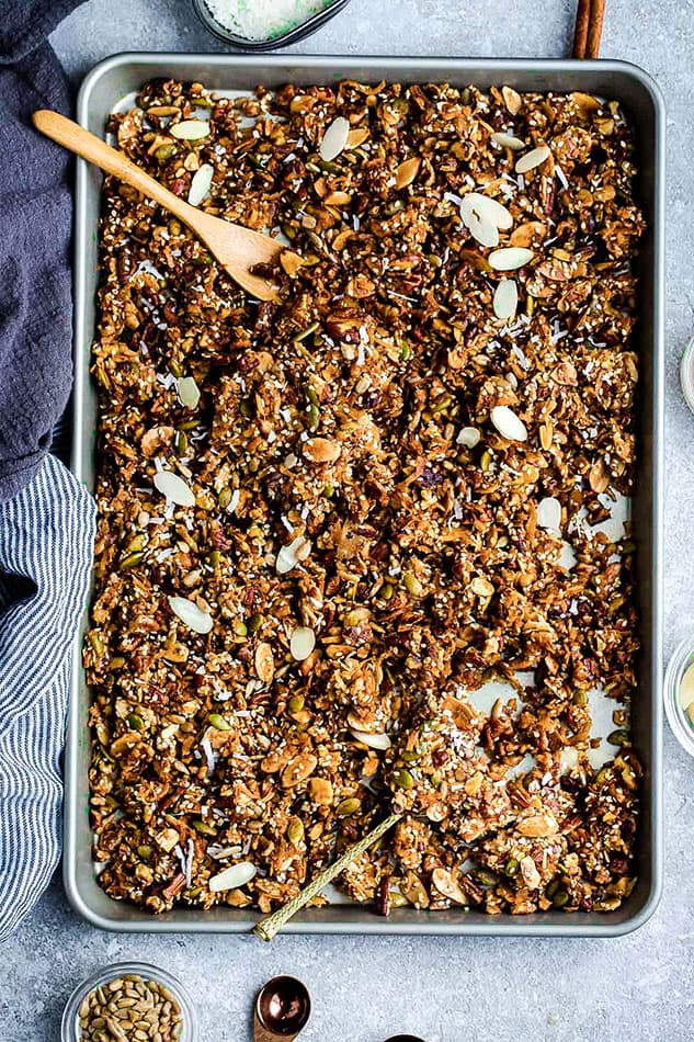 Top view of grain free granola on a baking sheet