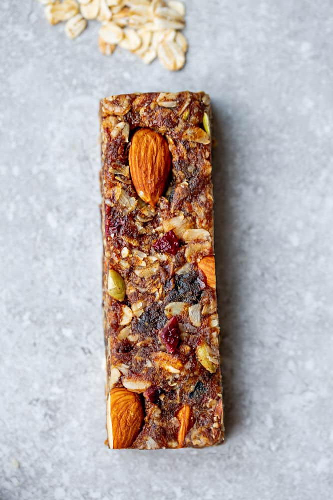 Top view of a Cranberry Almond Granola Bar