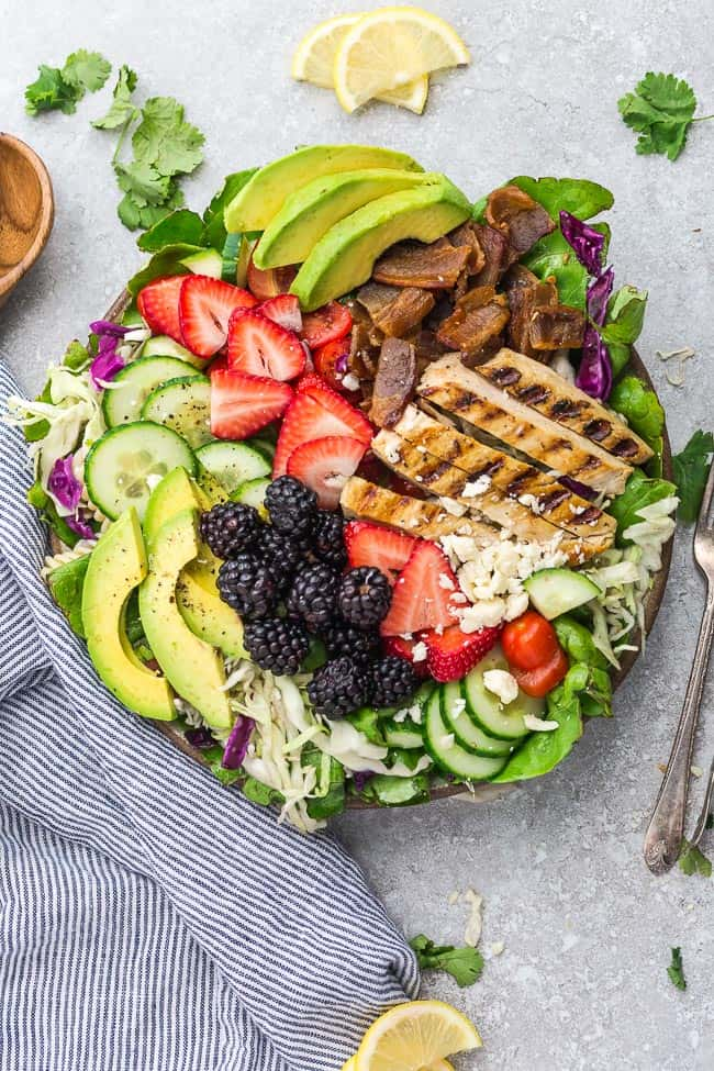 Berry Salad With Grilled Chicken Avocado Tomatoes