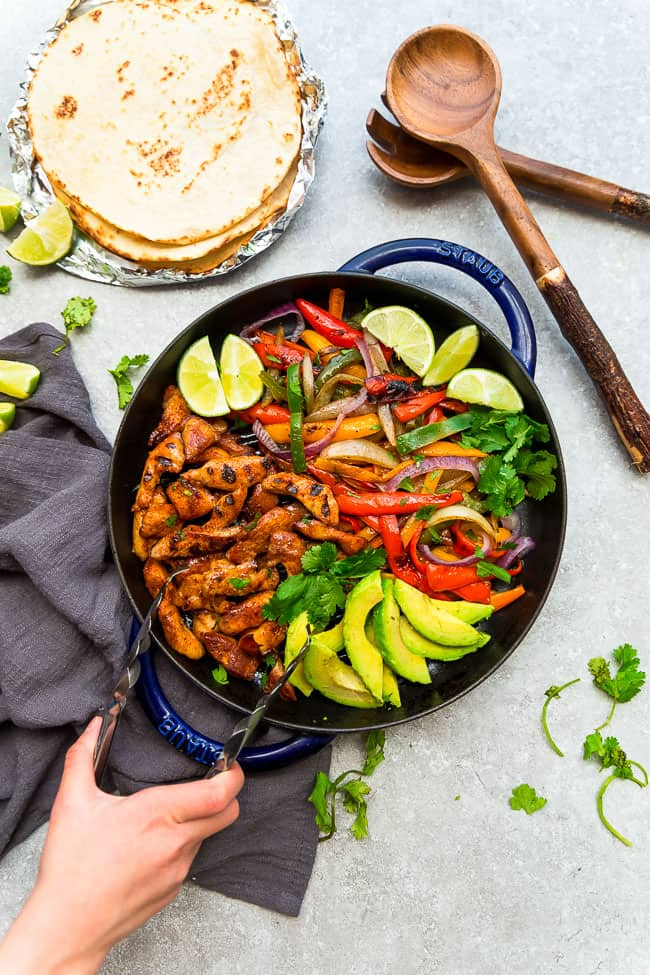 Chicken fajitas made on the grill.