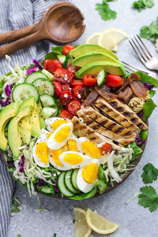 Overhead view of cobb salad recipe for Memorial Day.