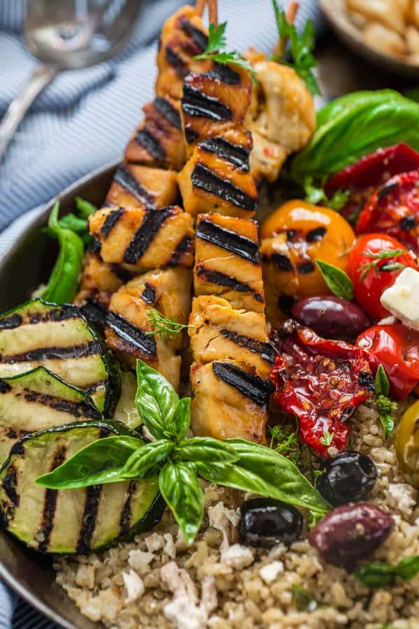 Close-up of a Grilled Greek Chicken Souvlaki Quinoa Brown Rice Bowl