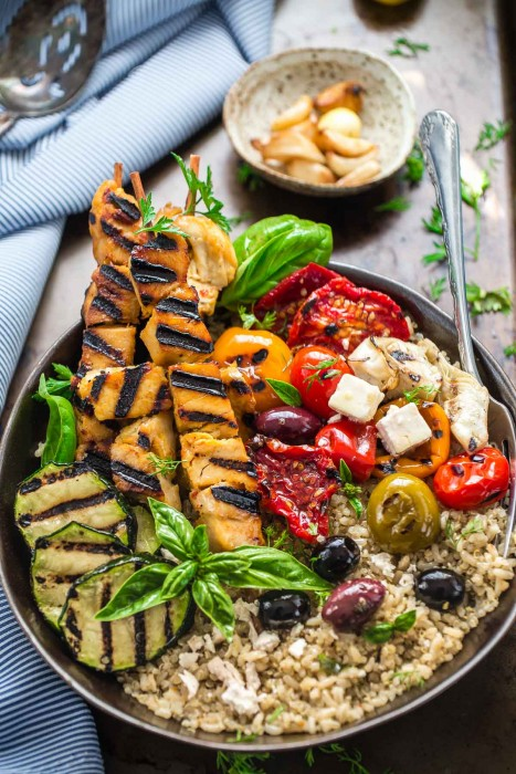Grilled Greek Chicken Souvlaki Quinoa Brown Rice Bowls