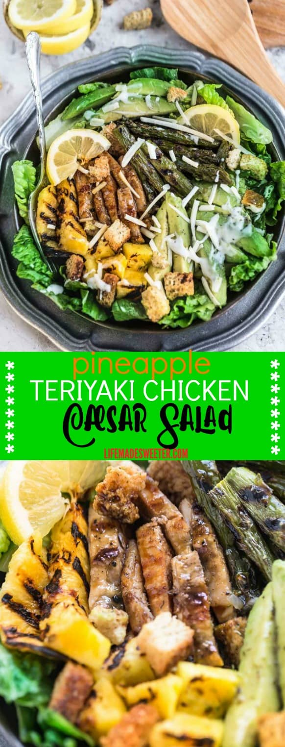 Grilled Pineapple Teriyaki Chicken Caesar Salad is the perfect easy & healthy weeknight 30 minute meal