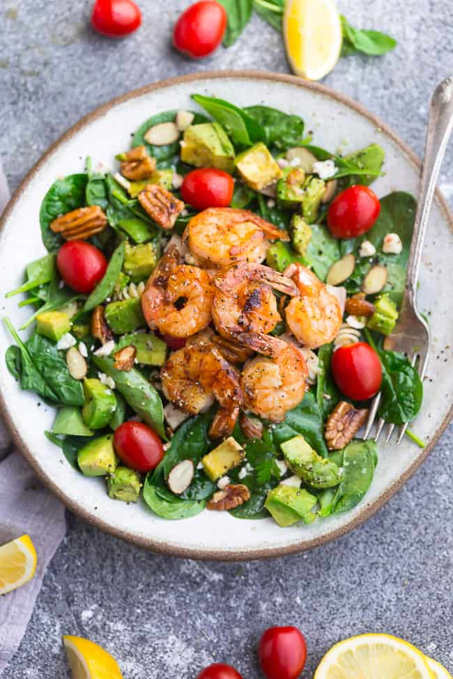 Spinach Avocado Shrimp Salad Keto Low Carb Paleo Whole 30