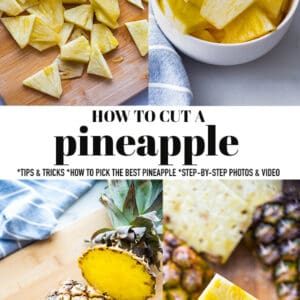 Pinterest collage for how to cut a pineapple