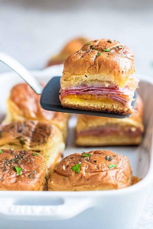 Baked Leftover Ham and Cheese Sliders + Video