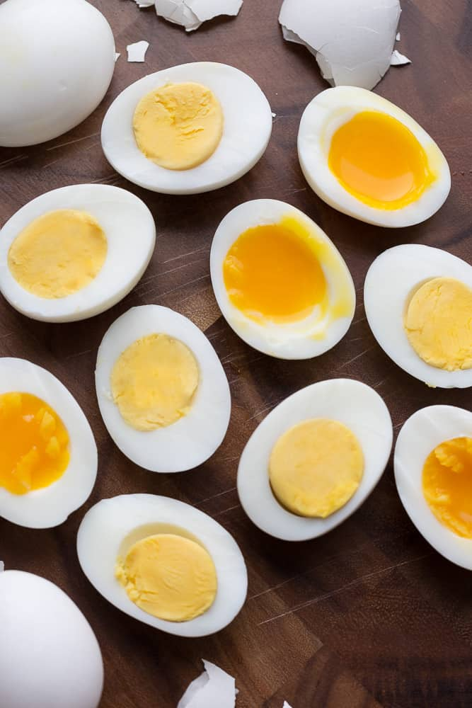 Instant Pot eggs - hard boiled eggs and soft boiled eggs sliced in half