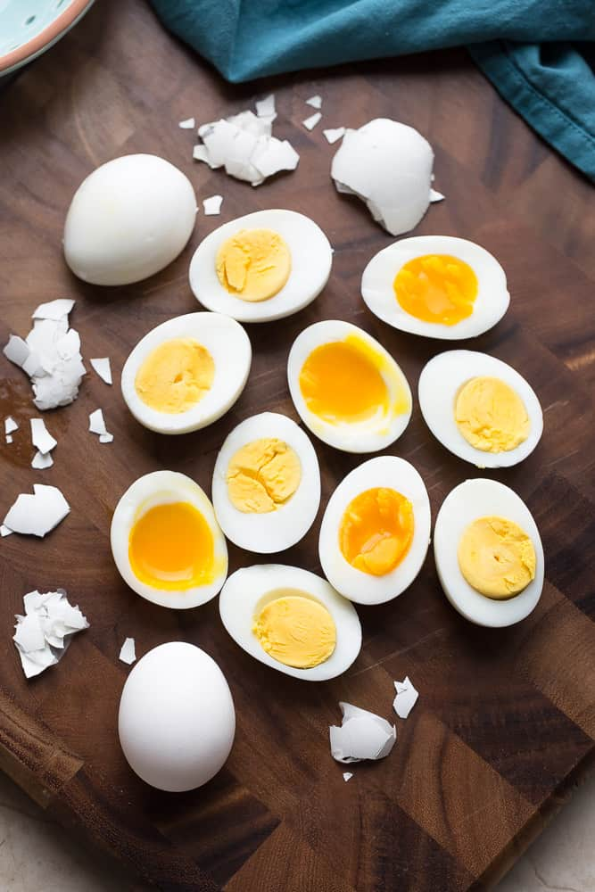 peeling hard boiled eggs made in a pressure cooker