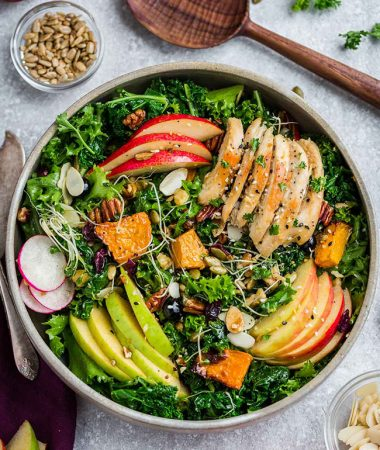 Harvest Fall Salad with Kale, Apples & Pumpkin
