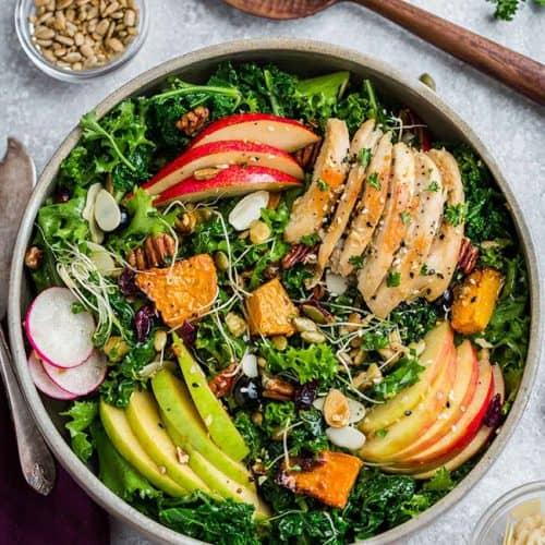 Harvest Kale Salad With Apples Pumpkin Chicken Breast Work Lunch