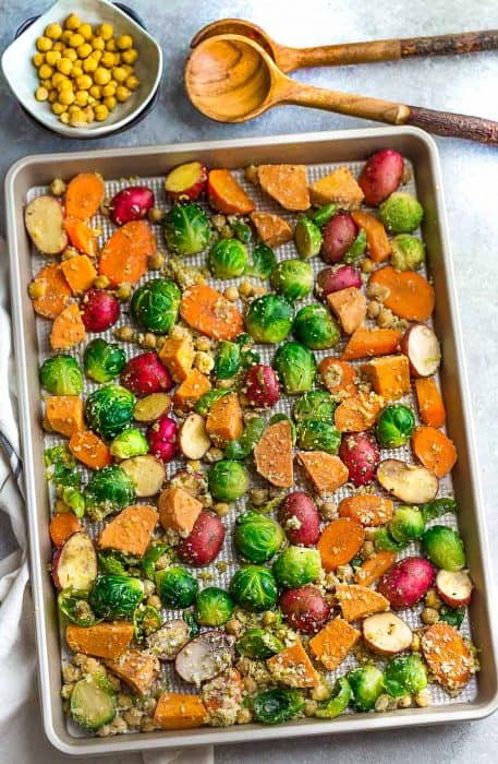 One Pan Roasted Harvest Vegetables + Video