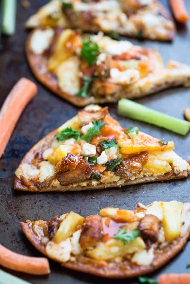 Hawaiian Buffalo Chicken Flatbread makes the perfect appetizers