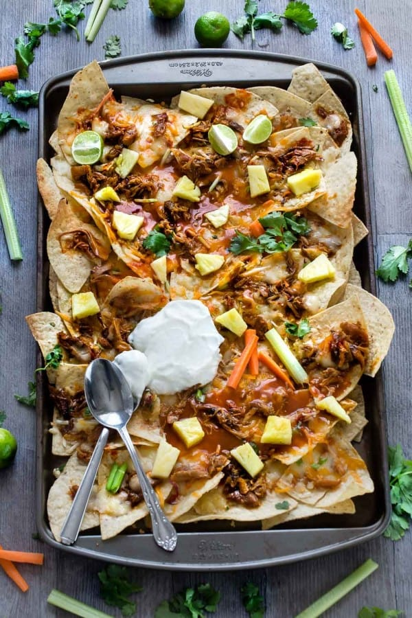Hawaiian Buffalo Chicken Nachos make the perfect game day snack!