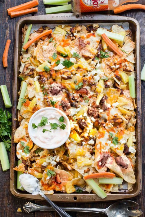 Easy Hawaiian Buffalo Chicken Nachos
