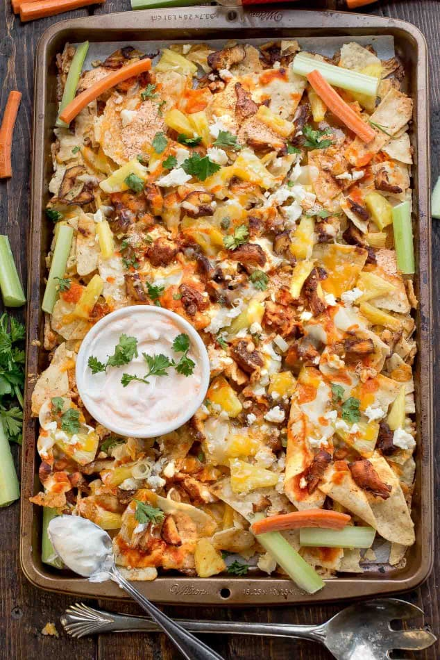 Hawaiian Buffalo Chicken Nachos is perfect for game day!
