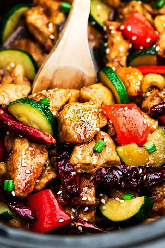 close up image of Kung Pao Chicken stir fry dinner