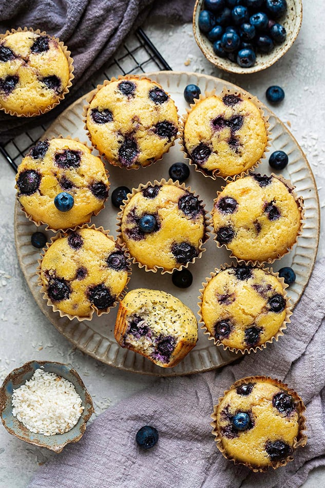 Overhead view of a plate of Lemon Blueberry muffins