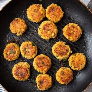 Top view of falafel patties on a frying pan to make falafel recipe