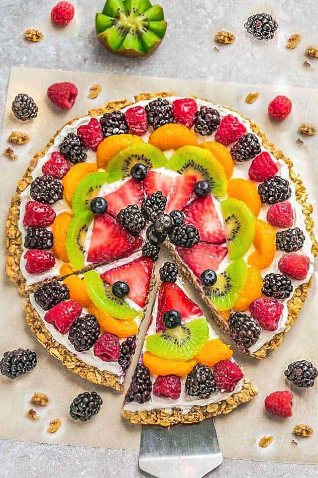 healthy fruit pizza on a gluten free granola crust