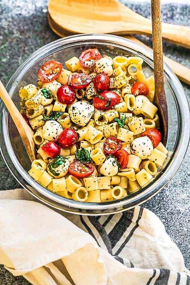 Top view of caprese pasta salad.