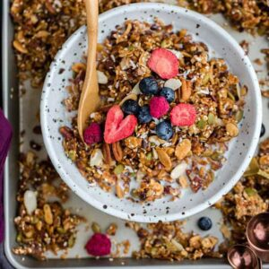 Overhead image of colorful healthy granola with oats and berries.