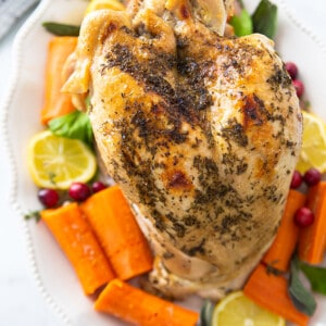 Top close-up view of Instant Pot Turkey breast on a white plate with vegetables