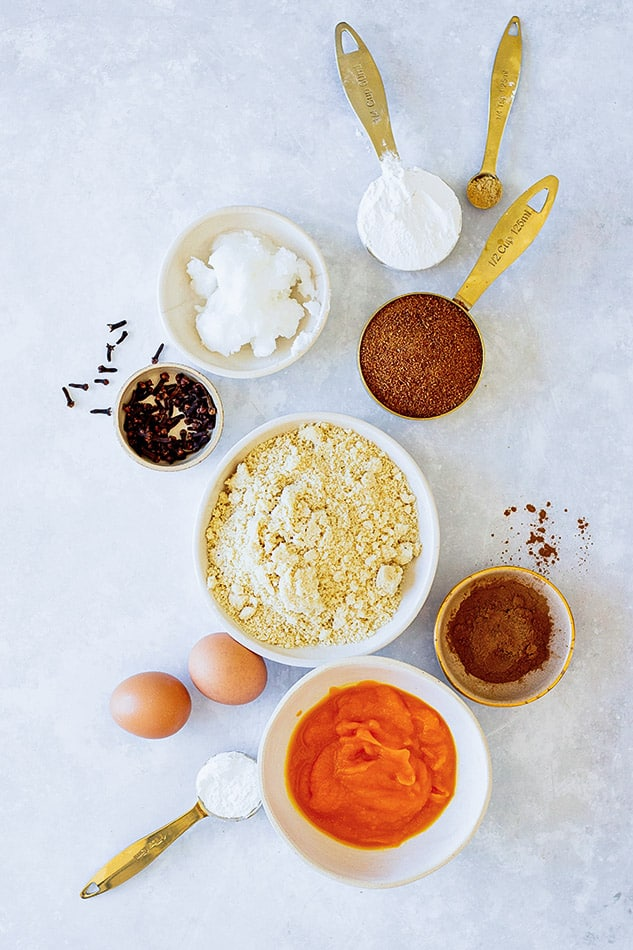 Overhead view of ingredients for Pumpkin Roll cake