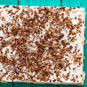 No Bake Peanut Butter Icebox Cake in a square glass pan
