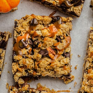 Overhead view of Pumpkin Oatmeal Bars with caramel drizzle