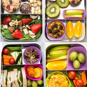 6 Healthy School Lunches (Easy & Kid-Friendly) that are perfect for picking eaters to start the new year. Best of all, tons of ideas for nut-free, dairy-free and gluten free options. Everything can be served chilled or at room temperature - no heating or microwave needed.