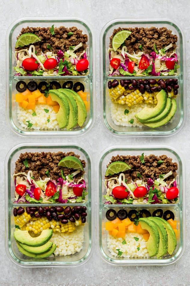 Healthy Taco Bowls - a quick & delicious lightened up 30 minute lunch or dinner perfect for busy weeknights. Best of all, made with a flavorful homemade Tex-Mex seasoning and options for low carb, keto and meal prep.