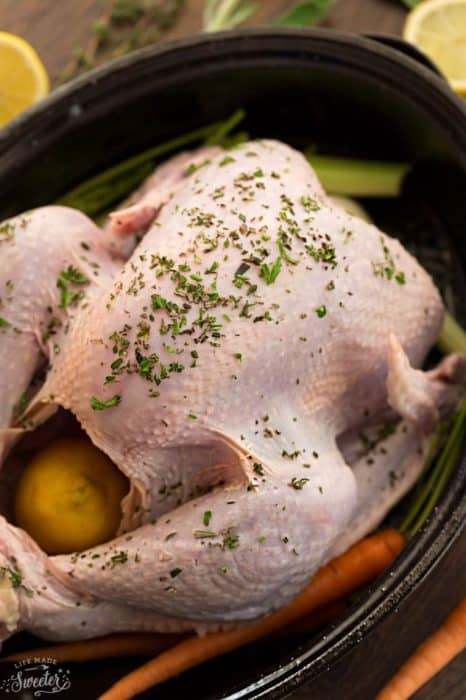 Close up view of a Raw Whole Turkey in a black roasting pan with carrots, lemon and herbs