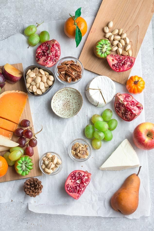 Ingredients for a charcuterie and cheese board