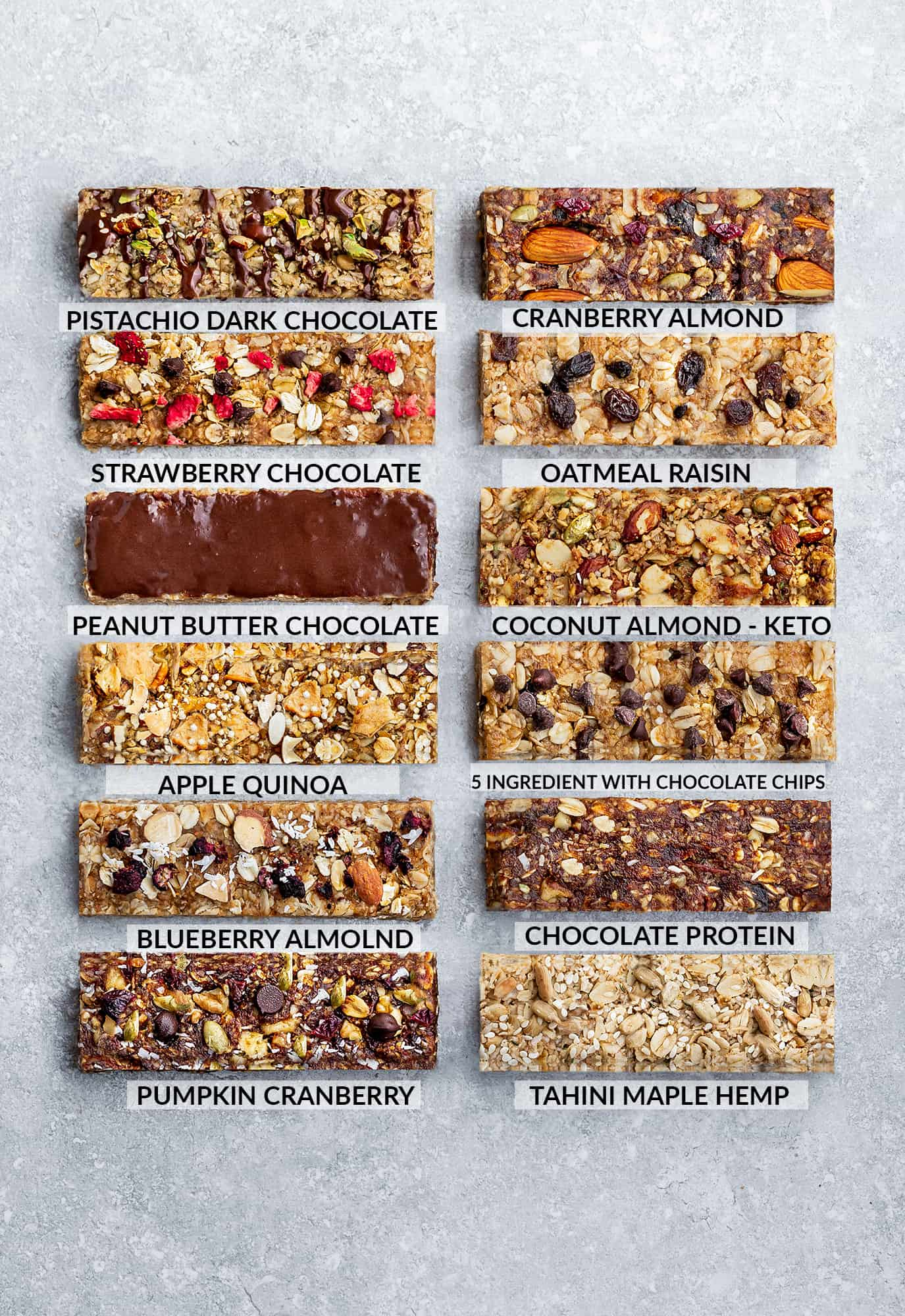 Top view of 12 Homemade Granola Bars on a grey background with the names