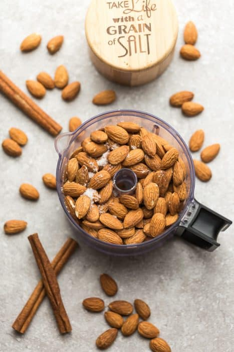 Top view of almonds in food processor.