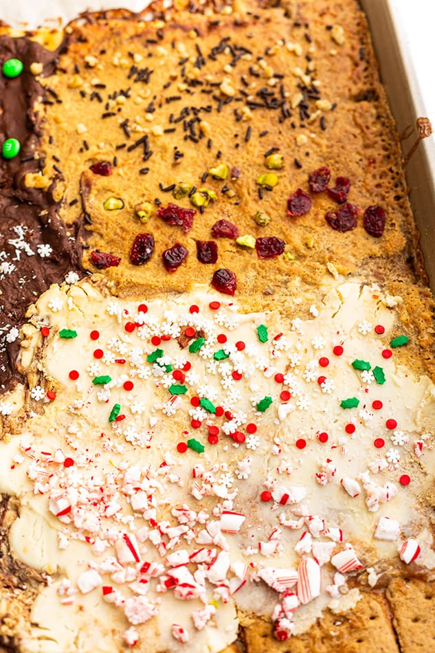 Christmas Cracker Toffee in a sheet pan